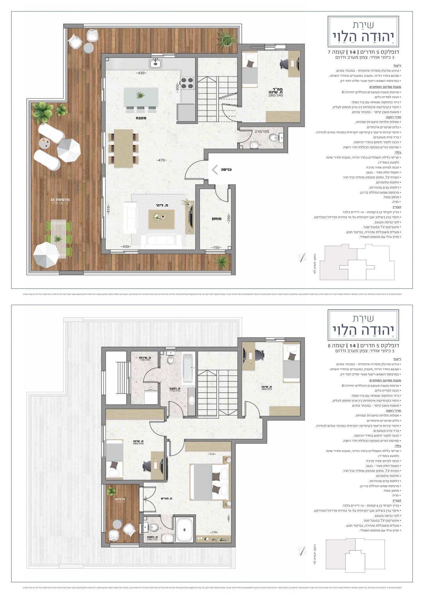 דופלקס 5 חדרים, קומה 8-7 : מספר 14