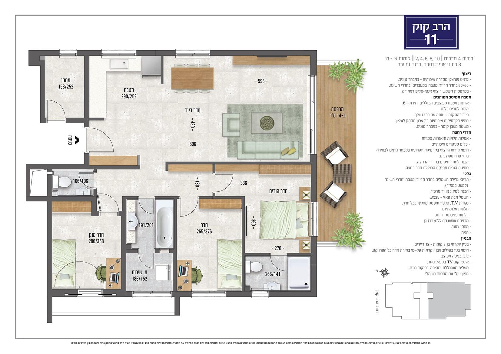 דירת 4 חדרים, קומות 1-5 - מספר 2,4,6,8,10