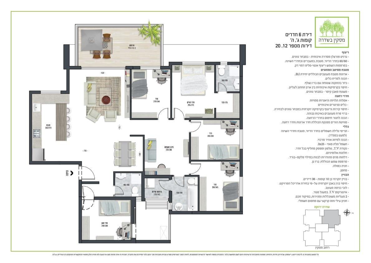 דירת 6 חדרים, קומות 3,5 מספר 12,20