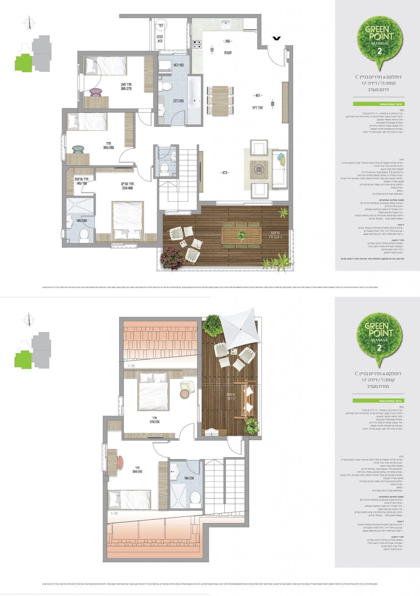 דופלקס 6 חדרים, קומה 5-6: מספר 17