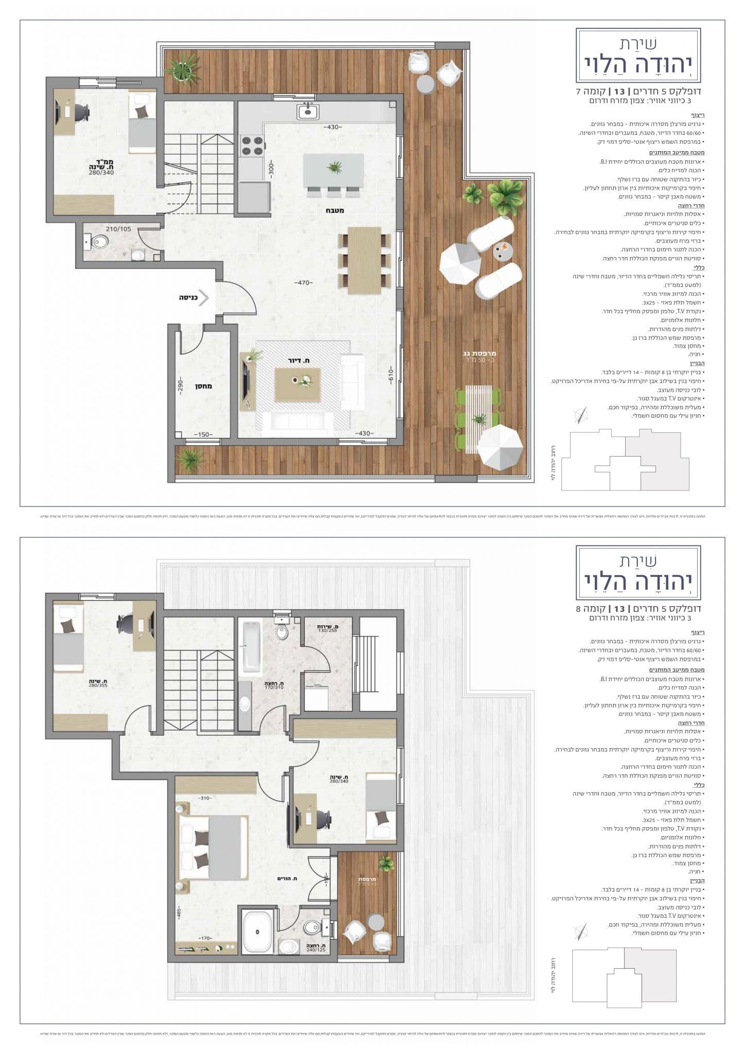 דופלקס 5 חדרים, קומה 7-8: מספר 13