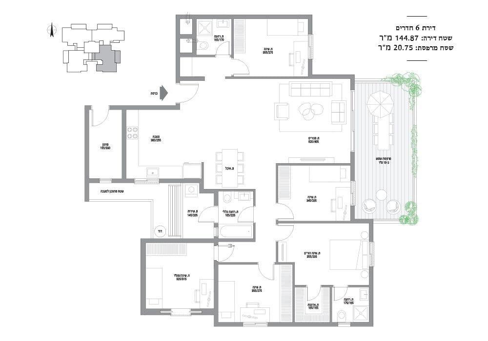 דירת 6 חדרים מספר 4,8,12,16,20,24