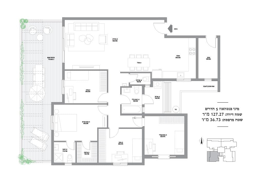 מיני פנטהאוז 5 חדרים מספר 29,33