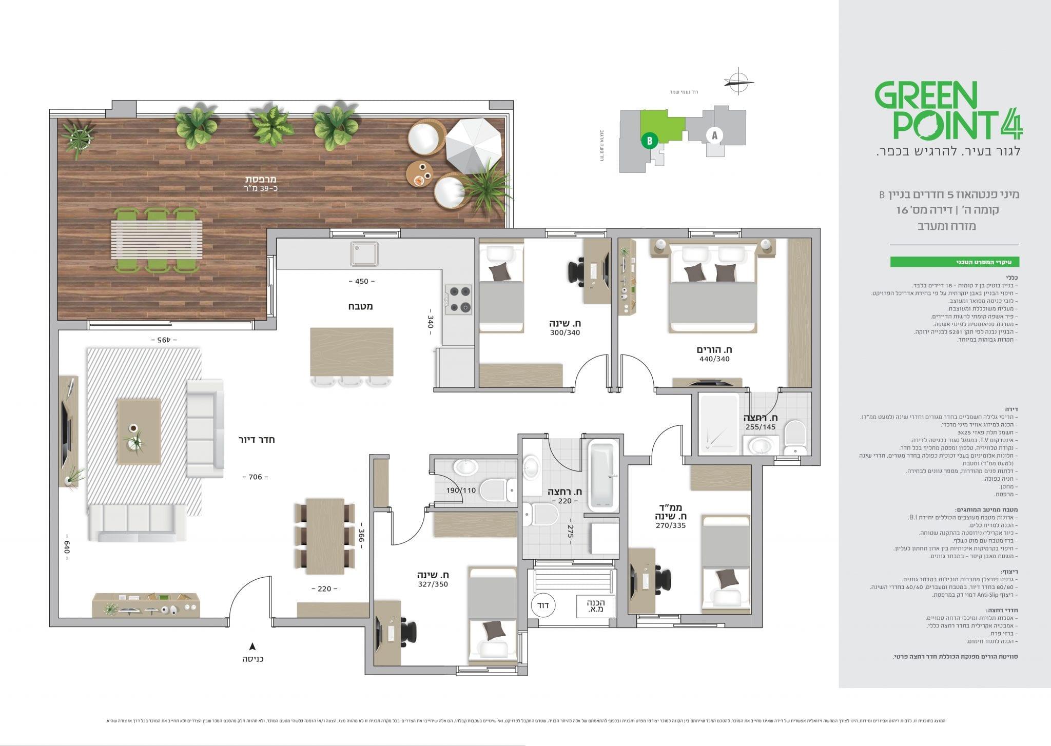 מיני פנטהאוז 5 חדרים