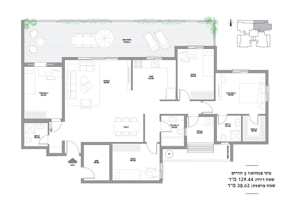 מיני פנטהאוז 5 חדרים מספר 27,31 sold out!