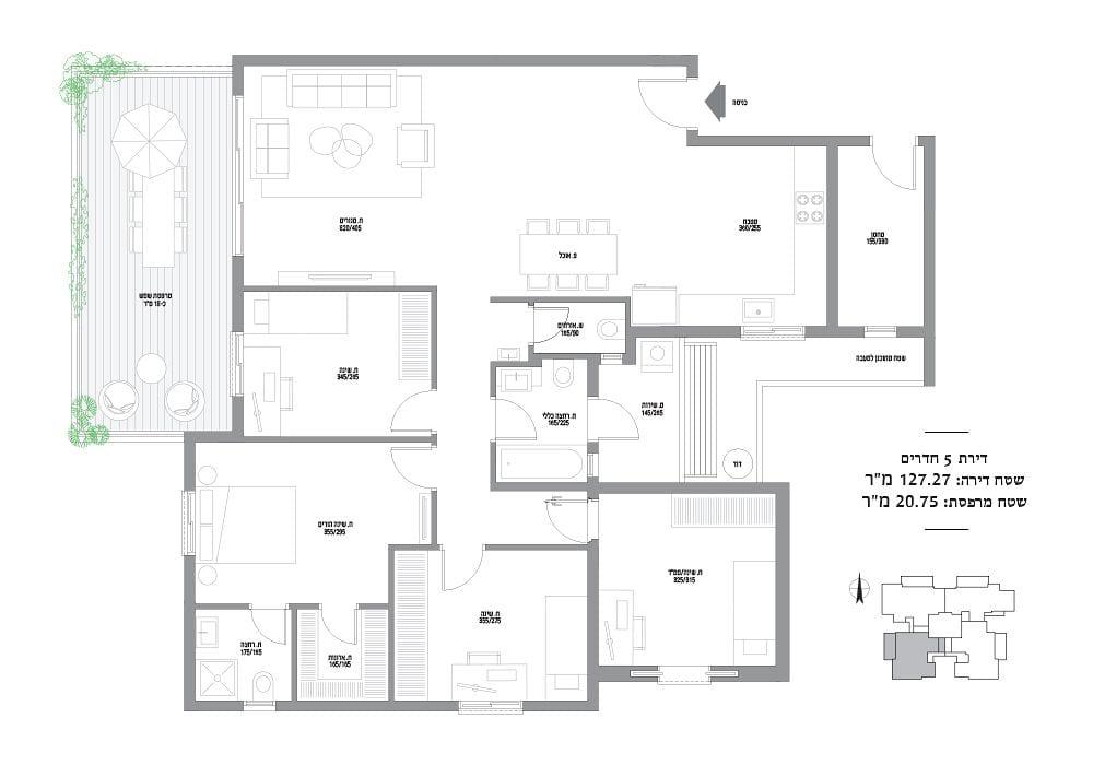 דירות 5 חדרים מספר 5,9,13,17,21,25