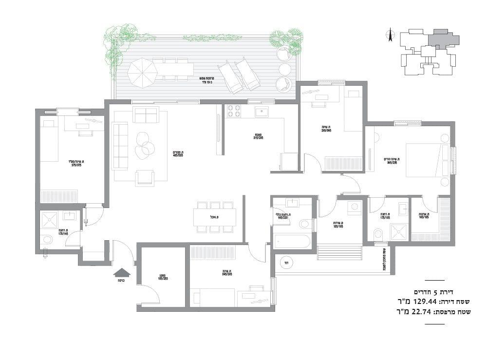 דירות 5 חדרים מספר 3,7,11,15,19,23