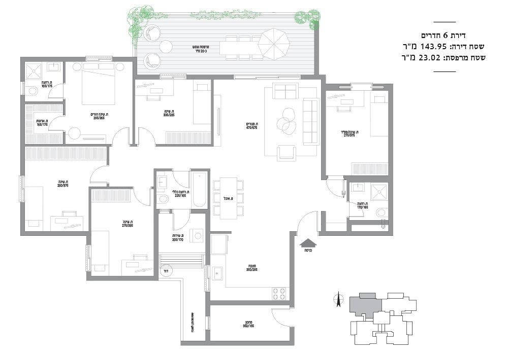 דירות 6 חדרים מספר 6,10,14,18,22,26