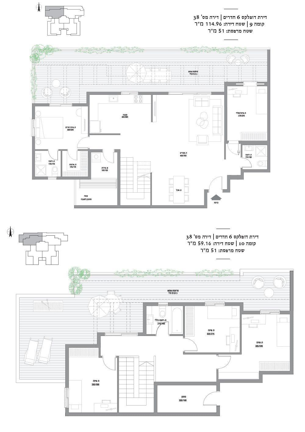 דופלקס 6 חדרים מספר 38: קומות 9-10