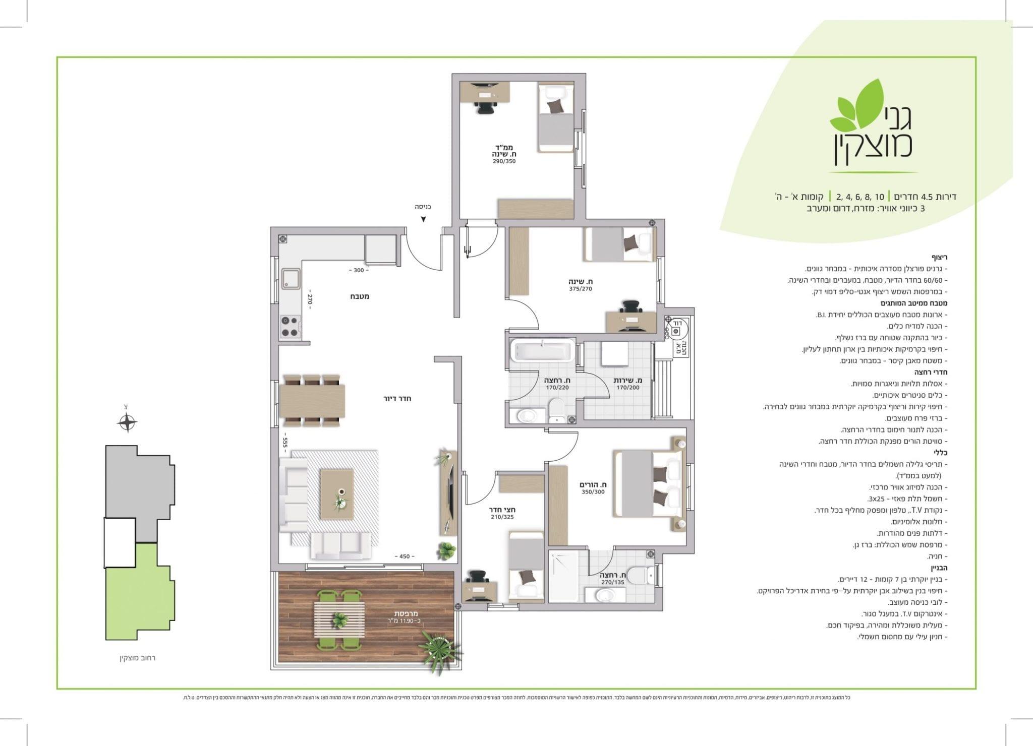 דירת 4.5 חדרים חזית קומות א'-ה'